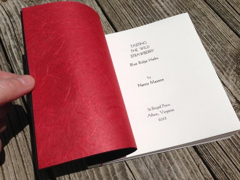 Title page, with beautiful red Thai Unryu endpapers.
