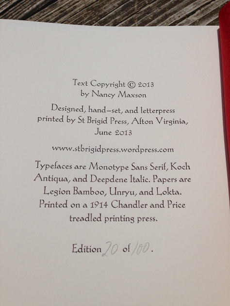 "Colophon, on the final page of ""Tasting the Wild Strawberry: Blue Ridge Haiku"""
