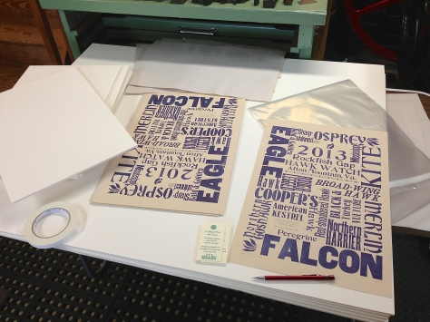 Signing, numbering, and packaging the 2013 Hawk Watch Poster.