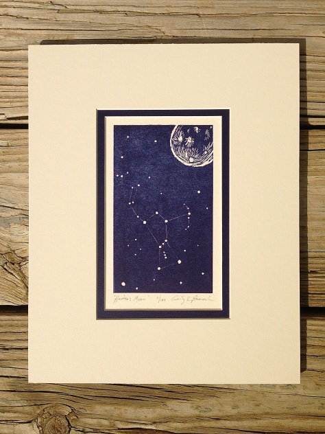 """Hunter's Moon"" block print."