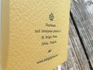 Back cover, letterpress printed with our Press signature.