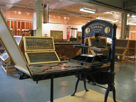 An American-made handpress from the late 1800s, a descendant of the style used by Gutenberg.