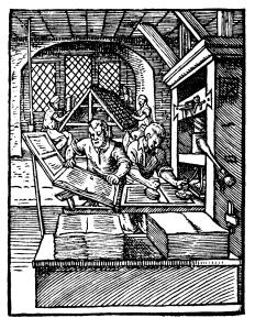 Printing office, circa 1560.