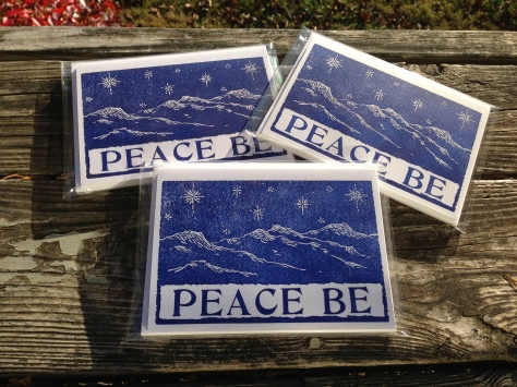 Winter Notecards, inspired by the Blue Ridge Mountains surrounding St Brigid Press. May be purchased singly, or in sets of four.