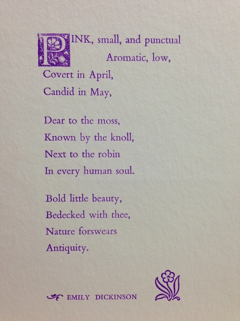 """Pink, small, and punctual…"" by Emily Dickinson, letterpress printed in deep-lavender."