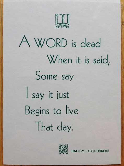 """A Word…"" by Emily Dickinson, letterpress printed in spring-green."