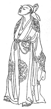 A drawing of 9th century Chinese poet Li Ho, from the book Wan hsiao tang-Chu chuang-Hua chuan (晩笑堂竹荘畫傳), published in 1921.