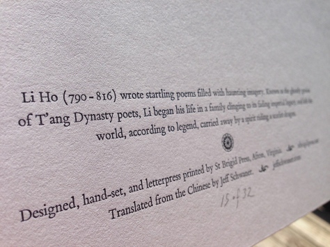 The colophon is printed on the back, with penciled edition number.