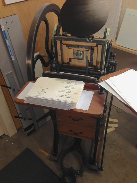 The 1909 Golding Pearl foot-treadled printing press.