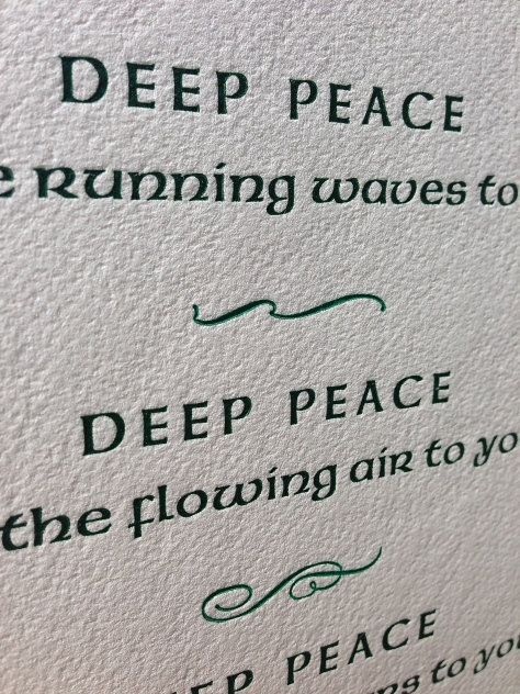 Close-up of the front of the Deep Peace notecard.