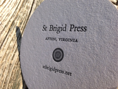 The back of each coaster features the St Brigid Press imprint.