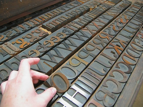 "Some of the vintage wood type in the St Brigid Press collection.  The typeface pictured is called ""DeVinne,"" manufactured by the Morgans & Wilcox Company (Middletown, NY), in the late 19th century."