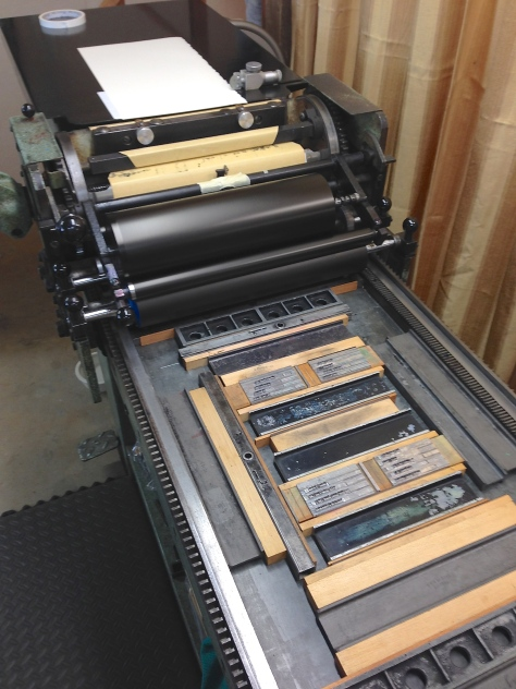 The Challenge 15MP hand-cranked printing press that printed the haiku and linocuts.